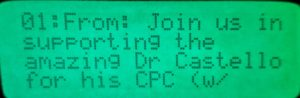 Screenshot of pager displaying announcement for my CPC.